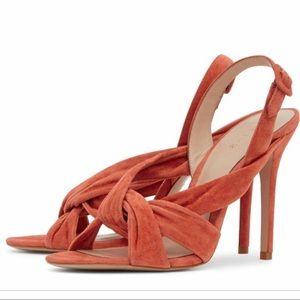 REISS Rhiannon tangerine suede knit sandal heels.